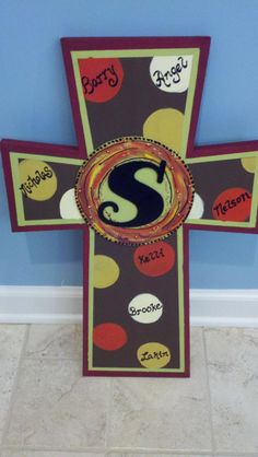Monogram Wooden Cross by Deb Wiggins