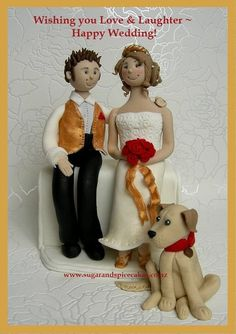 Bride & Groom Wedding Cake Topper with Labrador  Cake by MelSugarMama