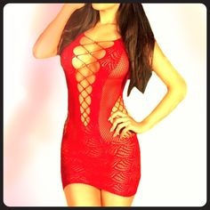 ~ Sexy Red Chemise / Bodystocking Lingerie ~ Best part is its one size fits all.  I have two of them for sale both are red. Purchased directly from manufacture.  Material: Polyester,Spandex Intimates & Sleepwear Chemises & Slips
