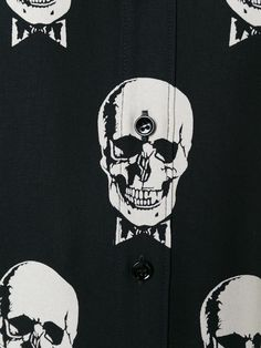 Saint Laurent платье-рубашка с принтом черепов