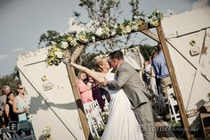 Sunlit Country Ceremony Kiss Picture