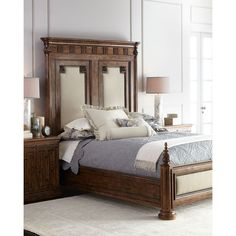 Van Buren California King Bed (17,090 CNY) ❤ liked on Polyvore featuring home, furniture, beds, chestnut, western king bed, dark brown furniture, ca king bed, california king bed and california king bed furniture