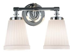 Eurofase BR-2PHI-25 Philip 2-Light Bathbar, Polished Chrome by Eurofase. $98.00. From the Manufacturer                Simply pleated opal white glass shades with neat edge are held up by sturdy cast and polished metal arms. Although style and design are central to the company's philosophy Eurofase goes to great lengths to ensure product quality and customer satisfaction. The Eurofase Quality Control team oversees the mechanical and electrical integrity of every Eu...