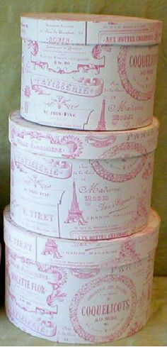 Pink Toile Hat Boxes- lovely for closet storage. Pretty Box, Pretty In Pink, Shabby Chic, Shabby Vintage, Vintage Hat Boxes, Pink Paris, Panel Hat, Altered Boxes, Everything Pink