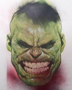 """8,189 Likes, 60 Comments - Ben Oliver (@benoliverart) on Instagram: """"HULK DONE, HULK HAPPY. Used biro, watercolour, acrylic, spray paint, and coloured pencil."""""""