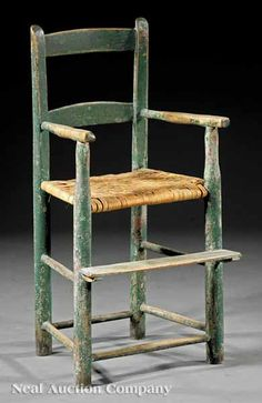A Rare Southern Child's Painted Ladderback Armchair, c. Antique High Chairs, Old Chairs, Outdoor Chairs, Primitive Antiques, Primitive Decor, Kid Furniture, Antique Furniture, Southern Furniture, Toddler Chair