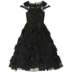 Marchesa Appliquéd tulle gown (64 770 UAH) ❤ liked on Polyvore featuring dresses, gowns, marchesa, black dresses, black, tulle ball gown, floral print dress, fitted dresses, embroidered dress and floral gown