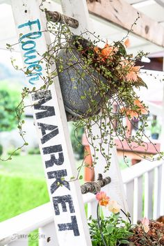 Make a Charming Flower Stand Ladder... With 2x4s and Branches!
