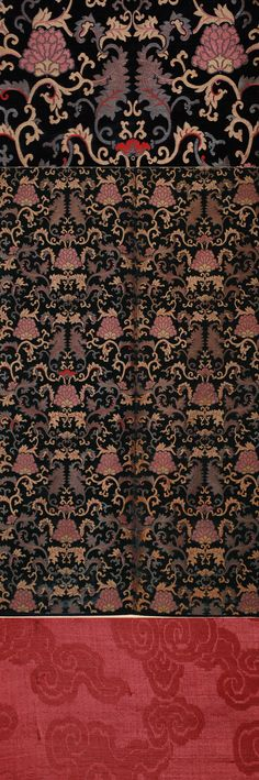 Antique Chinese Imperial Silk Cut Velvet with Silver Thread two Panel Joined Together, 1700-1750 AD.