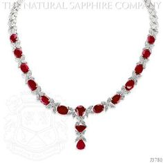Ruby Necklace - J3780 - Masterfully crafted from platinum, as any work of ruby and diamond art should be; your neck will finally be pleased to be adorned with 223 diamonds totaling 22.67cts and 15 rubies totaling 31.68ctw.