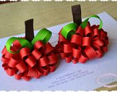 Set of Two Apple Loopy Puff Bows Fall Autumn Back to School OOAK