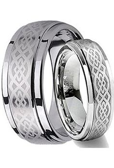 His & Her's 8MM/6MM Tungsten Carbide Wedding Band Ring Set w/Laser Etched Celtic Design