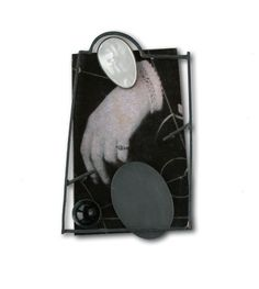 Ramon Puig Cuyàs - Utopos, Philosophia est vita, brooch, 2008, silver, alpacca, plastic, paper on resin, onyx, mother of pearl