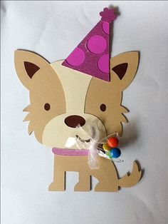 Birthday Party Invitation  using Cricut Create a Critter - glitter card stock for hat and collar