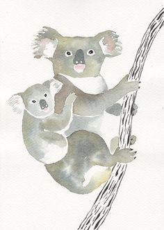 MAMAN et bébé KOALA Original aquarelle et encre par Mydrops sur Etsy