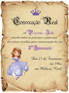 Convite - Princesa Sofia https://www.facebook.com/mimosagodoi