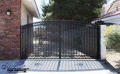 Santiago Driveway Gate with Plasma Cut Doberman Pinscher - Wrought Iron Driveway Gates, Double Gate, Plasma Cutting, Doberman Pinscher, Garage Doors, Outdoor Decor, Inspiration, Ideas, Santiago