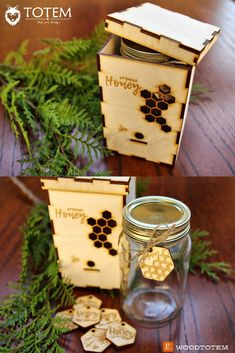 $6.99 Wood Box KIT for Honey Package Jar with Logo, Bee Hive Honeycombs Wooden Organic Beehive Natural, Business Custom Gift Personalized Engraved #honeypackage #woodtotem #organichoney #beetags