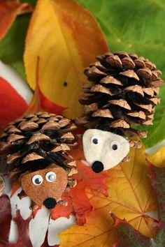 Easy make pine cone hedgehogs! Love em