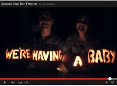 """McFly's Tom Fletcher and wife Giovanna Falcone take the prize for best YouTube video announcement on October 29 - carving the words """"We're having a baby"""" into pumpkins just in time for a Halloween announcement."""