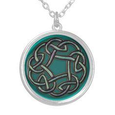 Teal Blue Green Metal Celtic Knot Necklace  #Celtic
