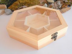 Tea box with glass display wooden hexagon by ExiArtsEcoCrafts