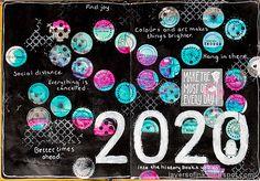 Layers of ink - 2020 year in review art journal page tutorial by Anna-Karin Evaldsson. Made with stamps and stencil by Simon Says Stamp. Altered Books, Altered Art, Dots To Lines, Make Your Own Background, Sharpie Paint Pens, Art Journal Pages, Art Journals, White Gel Pen, Distressed Painting