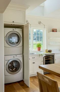 52 Perfect Laundry Room Decor In Your Tiny House. Think of all of the basic elements you will need to have in your laundry room. Laundry In Kitchen, Small Laundry Rooms, Laundry Room Organization, Laundry Room Design, Laundry In Bathroom, Hidden Laundry, Laundry Storage, Kitchen Storage, Kitchen Small