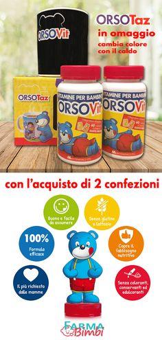 OrsoTaz, la tazza che cambia colore con il caldo... 😋 Per il latte caldo, per una camomilla o per una tisana, scoprirai la magia! In regalo con l'acquisto di 2 confezioni di OrsoVit. Biotin, Vitamin D, Gift