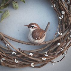 needle felted wren wreath  SPRING WREATH  rustic by TheLadyMoth
