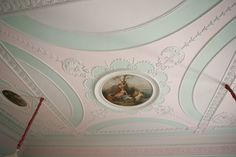 #beautiful #ceiling with #chandelier #pastelcolours #art #painting