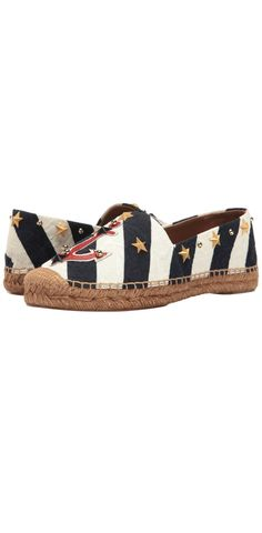 Anchor yourself adorably. Step onto the docks of desire and set sail to enchanting adventures wearing the #DolceandGabbana #Brocade #Espadrille with #Anchor and #Star. #footwear #shoes #flats #slip-ons #espadrilles