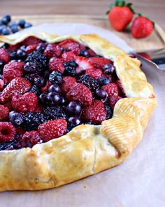 Beautiful, impressive Rum Infused Mixed Summer Berry Galette from Cooking with Cakes