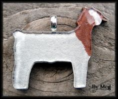 Boer 4H show goat hand painted  fused glass pendant by hopthefence, $30.00