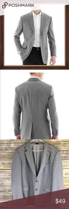 Stafford Essential Men's Gray Blazer EUC SIze 50R Men's gray blazer. In excellent used condition. Size 50R. 3 useable pockets inside lining. 31 inches long. 26 inch sleeves. 24 inches arm pit to arm pit. Stafford Suits & Blazers Sport Coats & Blazers