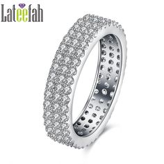Lateefah Fashion Double Rows Eternity Band Rings for Women Full Pave Cubic Zirconia White Gold Color Finger Ring Bijoux Bague
