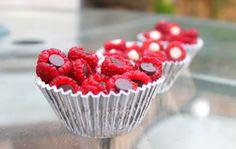 Chocolate chips stuffed in raspberries