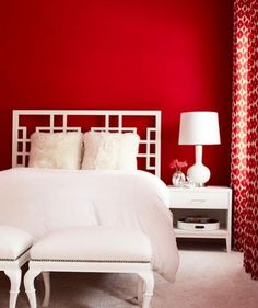 Tired of your boring bedroom decor? Wake up your sleeping space with fresh red and white combination.