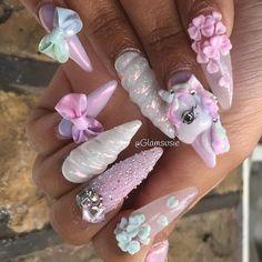 Nail art Christmas - the festive spirit on the nails. Over 70 creative ideas and tutorials - My Nails 3d Nail Designs, Creative Nail Designs, Creative Nails, Acrylic Nail Designs, Rose Nail Art, 3d Nail Art, Cute Nails, Pretty Nails, Unicorn Nail Art