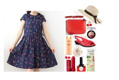 """""""cherry summer dress"""" by dbsomi ❤ liked on Polyvore featuring Liebeskind, Deux Lux, Inverni, Ciaté, Easy Street, Kenneth Jay Lane, Hring eftir hring, Cara, Fresh and Forever 21"""