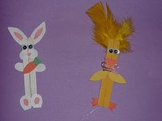 craft stick bunny and chick