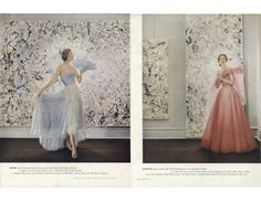 """""""Spring Ball Gowns with Jackson Pollock's Abstractions""""    Photographed by Cecil Beaton against Jackson Pollock Paintings.    Vogue, Mar 1, 1951."""