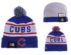 Mens / Womens Chicago Cubs New Era MLB Biggest Fan Vivid Team Graphic Cuffed Knit Pom Pom Beanie Hat - Royal / White