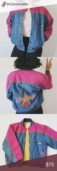 Vintage Arizona Jean Co. Denim Bomber Jacket +A colorful vintage denim bomber jacket.  +Jacket is thick. Perfect for the winter time.  +Women's size large.  +(Pictured) Inside of the jacket.  +(Pictured) Flaws: A few spots inside the jacket, some discoloration on the right sleeve, and some minor pilling on the collar and cuffs.  +Great condition. (No holes, rips, or any major signs of wear and tear.)  ***SEE PHOTOS FOR MEASUREMENTS Arizona Jean Company Jackets & Coats Jean Jackets
