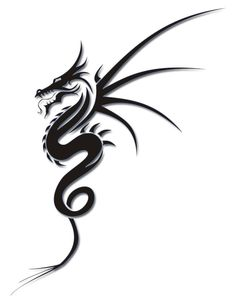 Simple Black Ink Dragon Tattoo Design