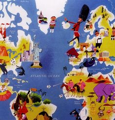 Detail of a World Map poster by Japanese illustrator Satoshi Hashimoto