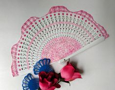 Folding fan wavy design, Hand painted Spanish fan, white and pink, free shipping to USA Hand Fan, Printing On Fabric, My Design, Spanish, Carving, Hand Painted, Fine Art, Free Shipping, Usa