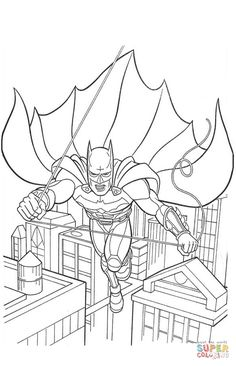 Batman Flying Down The Street From Coloring Page