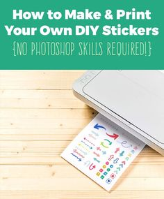 Learn how to make your own planner stickers and DIY sticker printables in this easy tutorial . No Photoshop Skills Required! While you can definitely do this in a photo editing program, this tutori… To Do Planner, Erin Condren Life Planner, Planner Pages, Printable Planner, Happy Planner, Planner Ideas, Planner Diy, Arc Planner, Printable Labels
