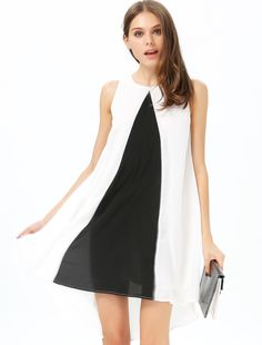 White Contrast Black Sleeveless Loose Dress US$17.99